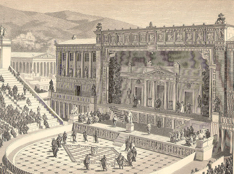 Teatro de Dionísio em reconstituição do século XIX.